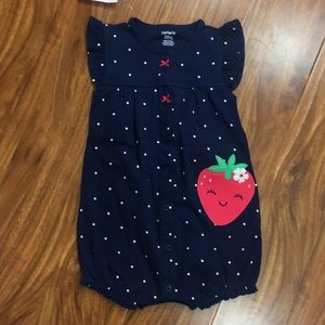 NWT Carter's Girl Strawberry Button Romper 24M